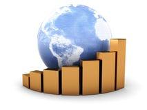 Earth globe and raising charts Royalty Free Stock Photo