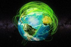 Earth Globe and real flight routes concept, 3D rendering. Earth Globe and real flight routes concept, 3D Stock Illustration