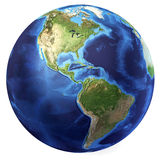 Earth globe, realistic 3 D rendering. Americas view. (Source map. Earth globe, realistic 3 D rendering. Americas North and south view. On white background Stock Image