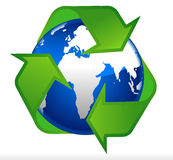 Earth globe recycling symbol Stock Photos