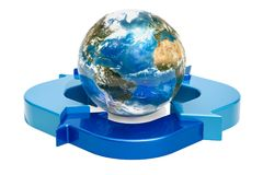 Earth Globe with ring diagram from blue arrows, 3D rendering. Earth Globe with ring diagram from blue arrows, 3D Stock Photography