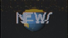 Earth globe rotating in stars space news word vhs tape glitch noise interference retro intro effect tv screen animation. Earth globe rotating in stars space old stock video footage