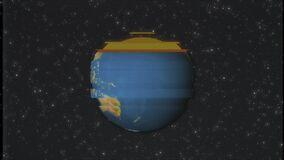 Earth globe rotating in stars space old vhs tape glitch noise interference retro intro effect tv screen animation. Earth globe rotating in stars space old vhs stock footage