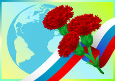 Earth globe with Russian flag and carnations on green background Royalty Free Stock Photos