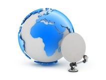Earth globe and satellite royalty free illustration