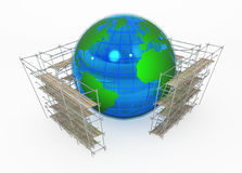 Earth Globe, Scaffolding. Earth globe 3d, surrounded by scaffolding, over white, isolated Stock Photo