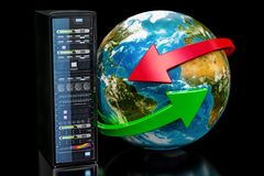 Earth Globe with server rack. Global network concept on black ba. Ckground, 3D Stock Photos