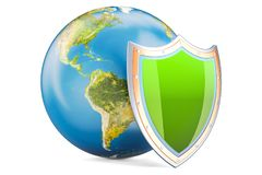 Earth Globe with shield, protect and safety concept. 3D renderin Stock Images