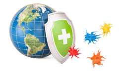 Earth globe with shield, protection from virus concept. 3D rende Stock Image
