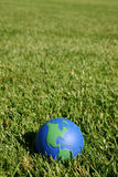 Earth globe showing USA in green grass. Earth globe showing USA and South America  in green grass outside Stock Image