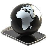 Earth globe on smart phone screen isolated Royalty Free Stock Photography
