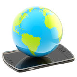 Earth globe on smart phone screen isolated Stock Images