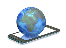 Earth globe on the smart phone on a white background close-up Royalty Free Stock Photo