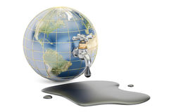 Earth globe squeezing oil through a tap, 3D rendering isolated vector illustration