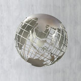 Earth globe in steel frame structure focused on asia Stock Image
