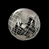 Earth globe in steel frame structure focused on asia Stock Images
