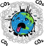 Earth globe suffering under global warming melting away in midst of carbon dioxide - hand drawn vector cartoon stock illustration
