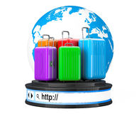 Earth Globe with Suitacases over Browser Address Bar as Round Pl Royalty Free Stock Photography
