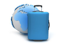 Earth globe and suitcase as travel symbols Stock Image