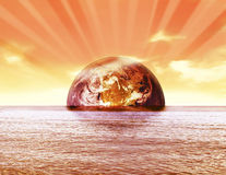Earth globe sunset Royalty Free Stock Photos