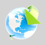 Earth globe symbol with arrow orbit Stock Images