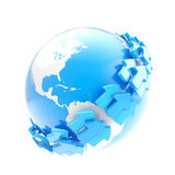 Earth globe symbol with arrow orbit Stock Image