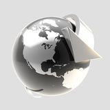 Earth globe symbol with arrow orbit Royalty Free Stock Photos