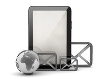 Earth globe, tablet computer and envelopes Stock Photo