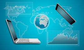 Earth globe tablet and computer laptop communication concept Stock Photography