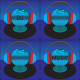 The earth (the globe) with the text, headphones and vinyl record Stock Photography