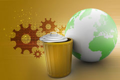 Earth globe with trash can Royalty Free Stock Photo