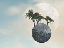 Earth Globe Trees. Surreal sky with Earth Globe Trees Stock Photos