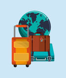 Earth globe with vacation travel icons image. Flat design earth globe vacation travel icons image vector illustration Royalty Free Stock Photos