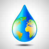 Earth globe in water drop form, environment concept Stock Photos