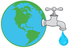 Earth globe with water faucet Royalty Free Stock Image