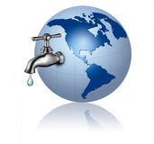 Earth globe with water tap and drop  Eco Concept Stock Photo