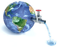 Earth globe with water tap dropping water Stock Photography