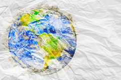 Earth globe with watercolor texture on crumpled  paper Ecology c Stock Photo