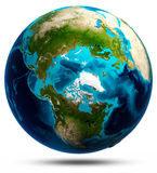 Earth globe white isolated Stock Images