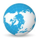 Earth globe with white world map and blue seas and oceans focused on Arctic Ocean and North Pole. With thin white. Earth globe with green world map and blue seas royalty free illustration