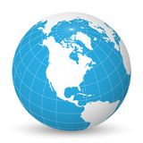 Earth globe with white world map and blue seas and oceans focused on North America. With thin white meridians and. Earth globe with green world map and blue seas Royalty Free Stock Photo