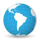 Earth globe with white world map and blue seas and oceans focused on South America. With thin white meridians and royalty free illustration