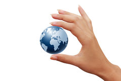 Earth globe in woman hands Royalty Free Stock Images