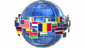 Earth globe with world flags. Rotating Earth globe with world flags isolated on white background stock footage