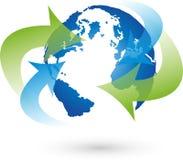 Earth, globe, world globe, arrows, logo. Earth, globe, globe and arrows, business in motion stock photos