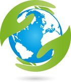 Earth, globe, world globe and hand, earth logo. Recycle sign, earth sign Stock Photography