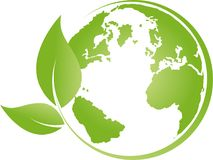 Earth, globe, world globe and leaves, earth logo Royalty Free Stock Images