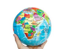 Earth globe, world in hand Royalty Free Stock Photography