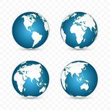 Earth globe. World map set. Planet with continents. Vector Illustration royalty free illustration
