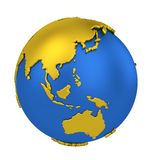 Earth globe with yellow continents isolated on white background. World Map. 3D rendering illustration vector illustration